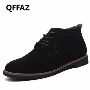 QFFAZ Marca masculina de gamuza de cuero zapatos para hombres botas sólidas casual cuero otoño invierno botines talla grande 38 45 botas no 7 bootie fr z8aj #