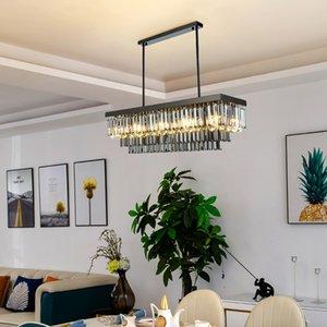 60cm 80cm 100cm 120cm 150cm modern rectangle smoky crystal chandelier lighting for dining room restaurant hotel decoration