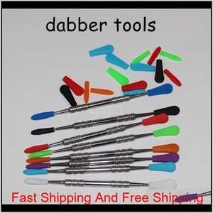 100pcs Electronic Cigarette Wax Dab Tool Stainless Steel Sile Concentrate Dabber Tool Wax Dry Ego Dr qylnyD bdenet