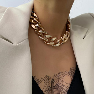 Gothic Punk Golden CCB Chain Choker Necklace for Women Vintage Cross Chain Charm Hip Hop Statement Necklace Jewelry Accessories Gift