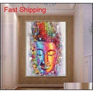 Buddha Canvas Painting Picture Wall Art Home Decoration Hand Painted Modern Abstract Oil Painting On Canvas Gift qylRIW toys2010