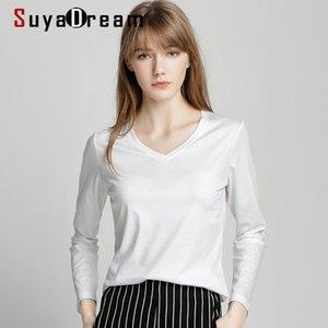 SUYADREAM Mujer sólida camisetas de algodón y seda mezcla liso o cuello de manga larga camisas de manga larga otoño invierno básico top 210309