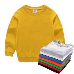 Boys Basic Style Sweatshirt Kids Autumn Solid Color Inner Matching Tops Children 18M-14T Homewear Toddler Spring Pajamas J0225