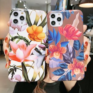 Luxury Flowers Silicone Soft Case For Iphone 12 11 Pro Xs Max X Xr Matte IMD Full Cover Case For Iphone Se 2020 8 7 Plus Coque