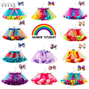 18 cores bebê meninas tutu vestido doces arco-íris cor saias de bebês com faixa conjuntos de festas crianças vestidos de dança tutus 2021 CPA4233