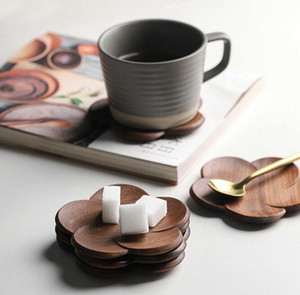 Black walnut coasters Office coffee insulating solid wood creative petal cushion cup wood insulating coasters WWA157