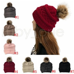 Women Winter Knitted Hat Pom Pom Ball Beanies Solid Color Warm Wool Knitting Cap Christmas Party Hats RRA4414