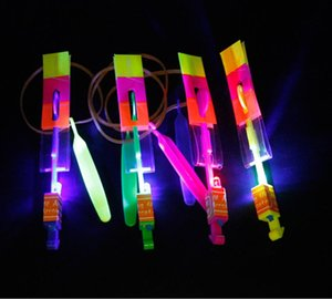 Bamboo dragonfly HOT LED Magic Toy Rubber Band Helicopter Flash Arrows Flying Umbrella Flash Mushrooms Flying toy