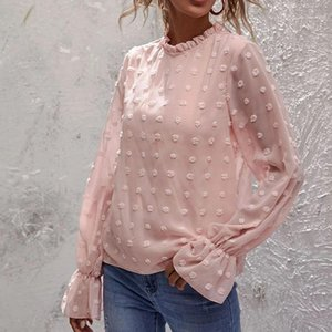 Women's Blouses & Shirts Chiffon Thin Blouse O-neck Long Sleeve Loose Small Flower Female 2021 Autumn Elegant Casual Top