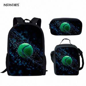 INSTANTARTS 3D Tennis Print Kids School Bags Big Shoulder Backpack With Pencil Bags 3D Children Gift Bookbags Schoolbags Mochila I9bl#