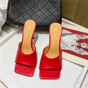 Eilyken Summer Women's Mules Slippers Elegant Square Toe High Heels Ladies Slides Shoes Femme Zapatos Mujer 210903