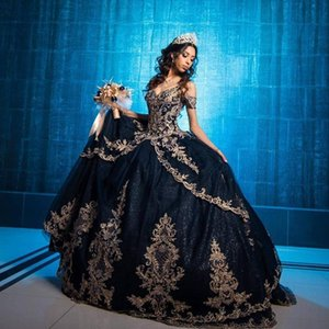 Navy Blue Quinceanera Dresses 2021 Off the Shoulder Tulle Lace Applique Spaghetti Straps Tiered Skirt Sweet 15 16 Prom Ball Gown Custom Made