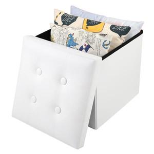 2021 Hot sale ottoman Plaid patterns directly foldable PU Leather Footstool new folding storage stool footstool