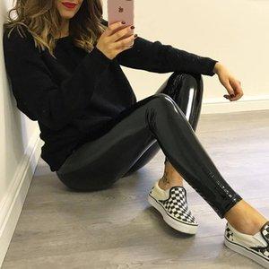 2021 New Black Push Up Autumn Pu Leather Ny Leggin Slim Long Pants for Women Sexy High Waist Leggings Female 1s42