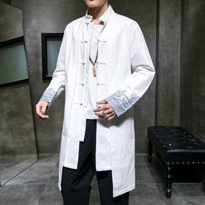 2021 Neue Herren Stickerei Chinesischen Stil Windjacke Mann Casual Übergroß Lange Mantel Männliche Vintage Mode Jacke Kleidung Ucrt