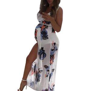 Платья для беременных Одежда для беременных 2021 летние без рукавов Подвеска без рукавов Флористическое печать Платье беременности Sundress Vestido