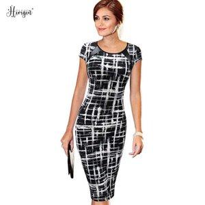 Hirigin Sought-After New Vintage Women Bandage Bodycon Short Sleeve Party Midi Dress Classic Dress Vestidos For Women X0705
