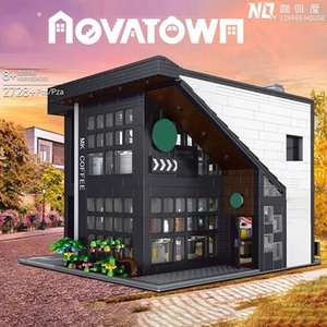 TWCH Creator Street view Series Building Model Light version Casual cafe Building Blocks 2728Pcs Bricks Education Toys Gift