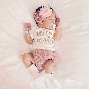 Eazii مرحبا العالم طباعة الوليد الرضع طفلة رومبير بذلة مع الملابس الداخلية قصيرة الأكمام sunsuit الملابس الصيف الزي 0-24 متر 210315