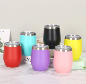 12oz Wine Tumbler Powder Coated Coffee Mugs Beer Glass Water Bottle 2 Layer Vacuum Insulated Beer Mug Wedding Party Mugs with Lid WWA135