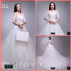 2021 New fashion white tulle ball gown wedding dress lace appliques off the shoulder sexy elegant wedding dreses court train bride dresses