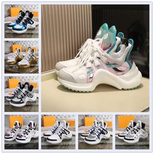 2021 Louis Vuitton 21 new LV ARCHLIGHT shoes 새로운 남성과 여성의 신발 아치 라이트 아름다운 두꺼운 솔라 캐주얼 스니커즈 디자이너 아치 신발 가죽 컬러 드레스 테니스 신발 부츠