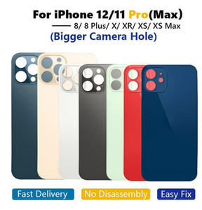 OEM Big hole back glass For iphone 8 8Plus X XR XS 11 12 Pro MAX Battery Back Glass Rear Cover Housing