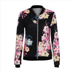 2021 Vendita calda Donne Autunno Autunno Slim Giacca Cappotto Moda donna Biker Celeb Camo Flower Stampa floreale Zipper Up Bomber Giacche W510