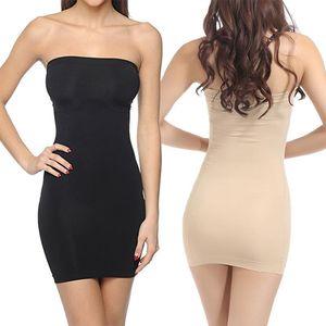 Feeshow Женщины без бретелек контролируют промах Полное тело для формирования формирователя Shapewear Бесшовные мини-платья мода женские оболочки Slim Fit Mini платья