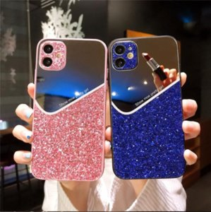 Luxury Geometry Glitter phone cover cases For iphone 12 mini 12 11 Pro XS MAX X XR 7 8 plus Makeup mirror back case