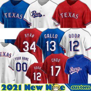 Texas Jersey 13 Joey Gallo 12 Rougned Odor Jerseys Baseball Nate Lowe Nick Solak David Dahl Leody Taveras Kyle Gibson Isiah Kiner-Falefa Homens