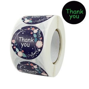 Night Visable Flower Thank You Gift Seal Packing Labels Stickers 1.5inch Holiday Gifts Colorful Handmade Package Label