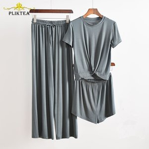 Pliktea 3 pièces Ensemble gris Accueil Pour Femmes Atoff Accueil Vêtements Ensemble Femme Pyjamas Ensemble Femme Homewear Costume Fall Fall Mesase Sleepwear 210315