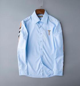 Brand Uomo Business Camicia Casual Camicia da uomo a maniche lunghe a strisce Slim Fit Camisa Masculina Shirt maschile Shirt maschii New Fashion Designer Plaid Camicia 235