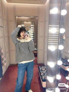 12 2021 봄 브랜드 똑같은 스타일 스웨터 긴 소매 승무원 새로운 패션 여성 의류 스트라이프 고품질 Womens Dali