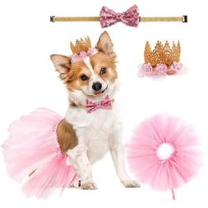 애완견 생일 모자 칼라 드레스 세트 치와와 bowknot 머리 핀 만화 아기 머리 띠 다채로운 복장 애완 동물 아기 생일 파