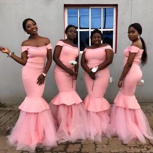 ASO EBI MERMAID Robes de demoiselle d'honneur 2021 Bâteau Cou Zipper Retour Longue Maid de femme d'honneur Robe de mariée bon marché