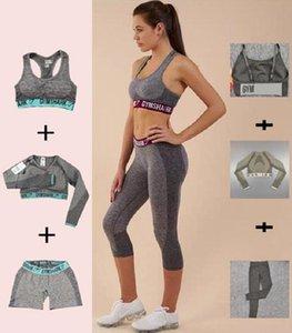 Женский дизайнер Grils Yoga костюм рукава длинные брюки шорты бюстгальтеры бюст спортивные костюмы спортивные трексуиты фитнес комбинезон спортивная одежда для спортивной одежды Gymshark Print буква