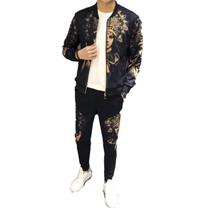 Jogging track sportswear 2019 spring jacket suit personality printing cardigan coat sweater casual sports suit
