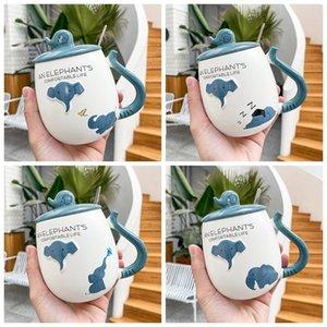Mugs 450ML Breakfast Home Office Coffee Cup Cartoon 3D Relief Blue Elephant Ceramic Drink Yogurt Cups Luxury Tea Set