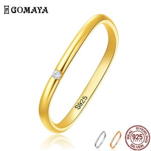 GOMAYA Square 925 Sterling Silver Rings For Women And Men Cubic Zircon Unisex Romantic Ring Engagement Fine Jewelry Hot Sale
