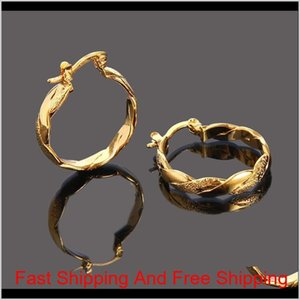22K 23K 24K Thai Baht Fine Yellow Solid Gold Gp Earrings Hoop E India Jewelry Brincos Top Quality Wave Rfobd Ickv0