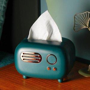 Retro Radio Model Tissue Caixa De Desktop Paper Titular Do Vintage Paper Dispenser Dispensador De Armazenamento De Armazenamento Organizador Ornament Ornament Craft DHD5136