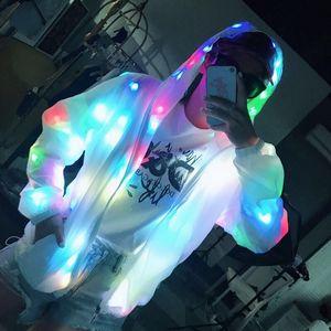 Светодиодная куртка Освещение Пальто Светового костюма Творческие Водонепроницаемые Танцы Одежда Рождественская вечеринка Одежда