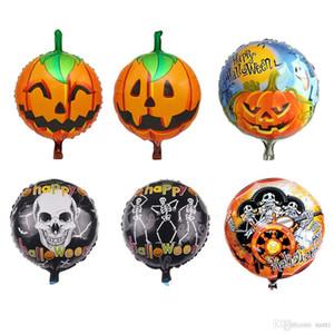 18 pulgadas Halloween Pumpkin Ghost Skull Globos Decoraciones de Halloween Foil Helium Balloon Inflables Juguetes Fuentes de fiesta JK1909