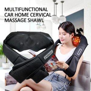 Massageador de pescoço massagem elétrica shiatsu back corpo do ombro u forma xale infravermelho aquecido amassar carro / casa massageador 2021