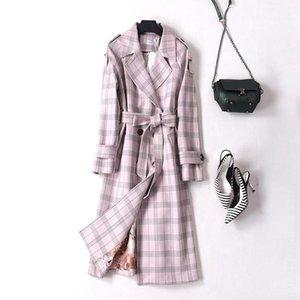 Women's Trench Coats 2021 Autumn Suede Coat Women Plaid Double Breasted Windbreaker Female Casual Long Slim Belt Cloak Vintage Outwear