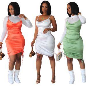 New Arrivals Women Party Dress Shine Spaghetti Strap Draped String Sleeveless Night Club Wear Lady Dresses 2021 Hot Sale Summer
