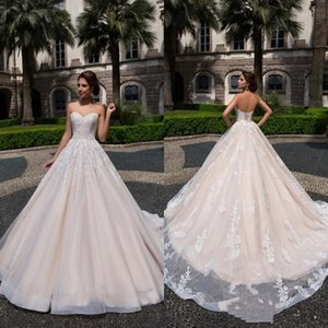 Glamorous Sexy Sweetheart Champagne Wedding Dresses Lace Appliques Ruched Lace-up Back A Line Wedding Gowns Backless