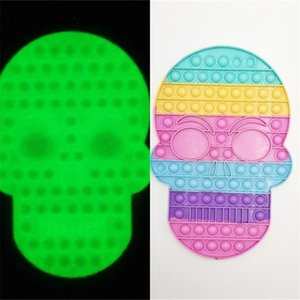 28.2CM skeleton halloween skull head large fidget toys push pop bubble poppet board rainbow glow in dark luminous puzzle children desktop stress relief toy G912I10
